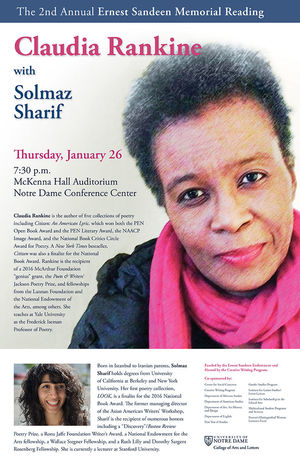 Ernest Sandeen Memorial Reading with Claudia Rankine & Solmaz Sharif